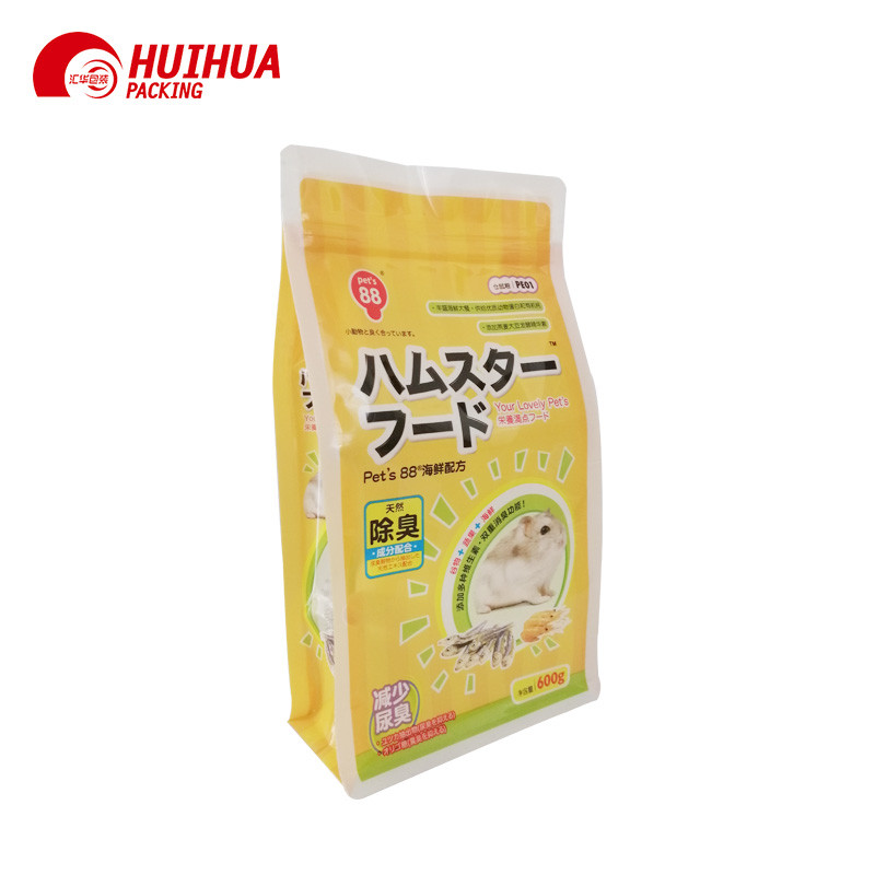 product-Huihua-Square Flat Bottom Pouches With Tag Zipper For Pet Food Packaging-img
