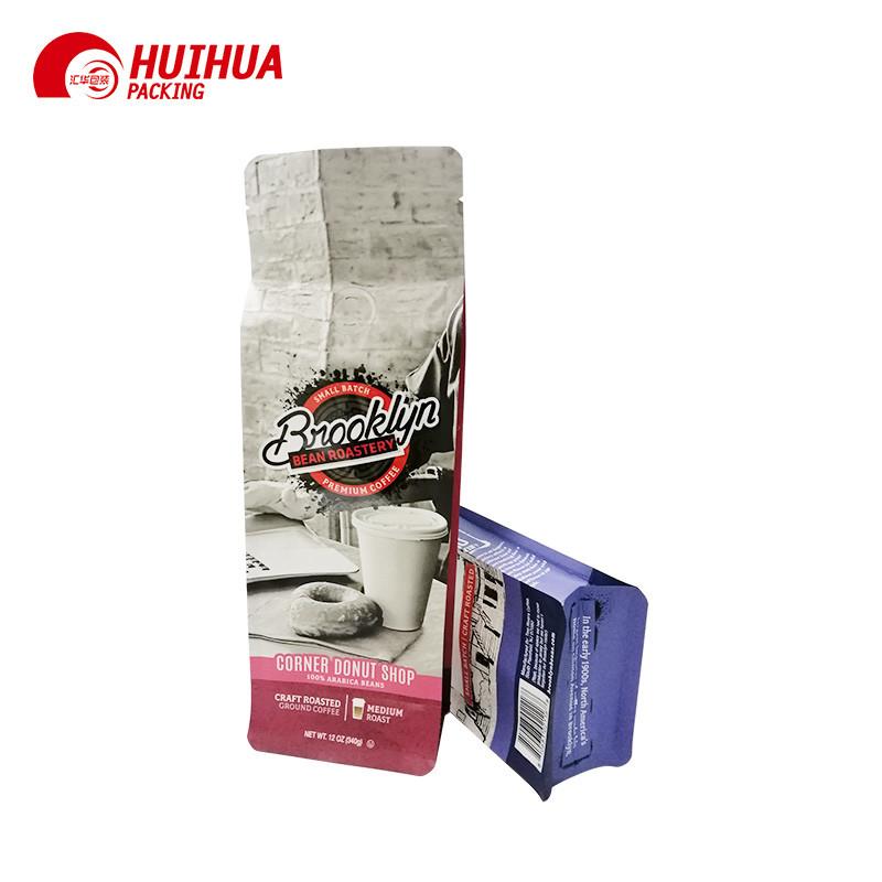 Reusable Plastic Coffee Packaging Zipper Lock Bags Flat Bottom Pouch