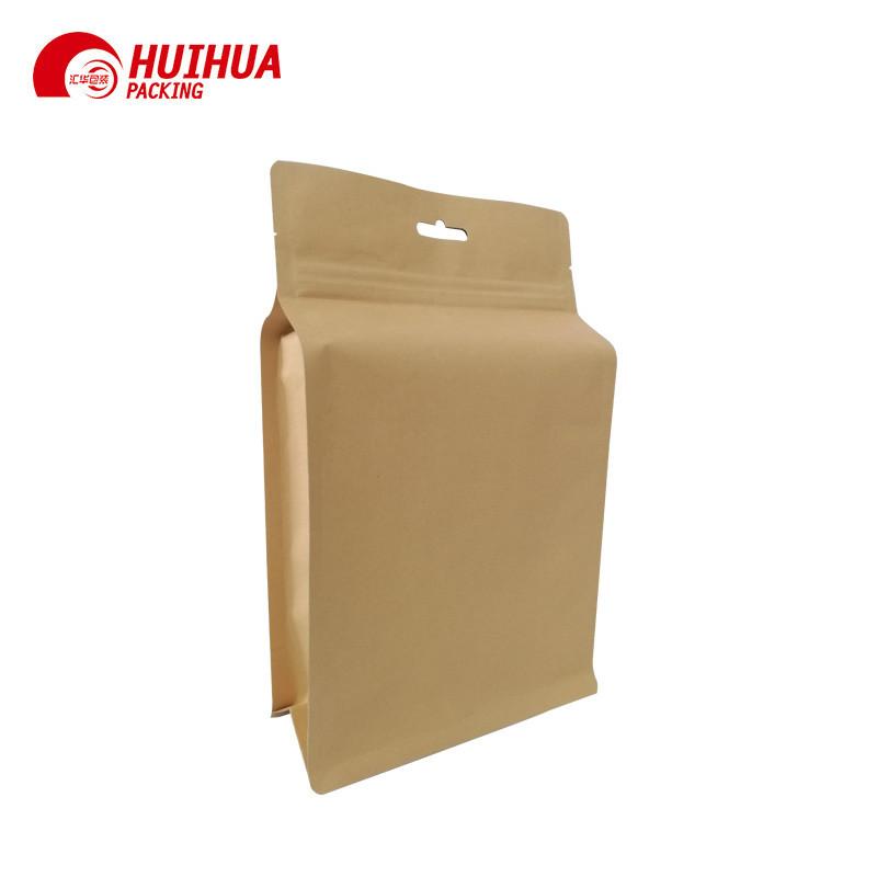 Kraft Paper Pouch Flat Bottom With Window Open And Zipper