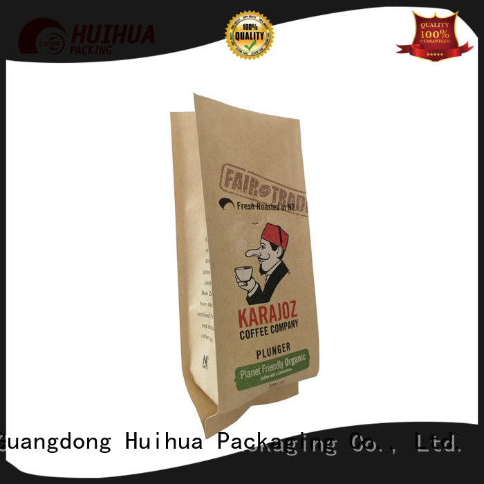 Huihua recyclable kraft paper pouch with good price for coffee beans