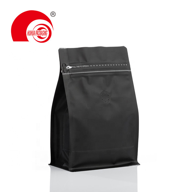 Food Grade High Barrier Coffee Packaging Bag Pull Zip Lock Flat Bottom Pouch WIth Valve For Sale