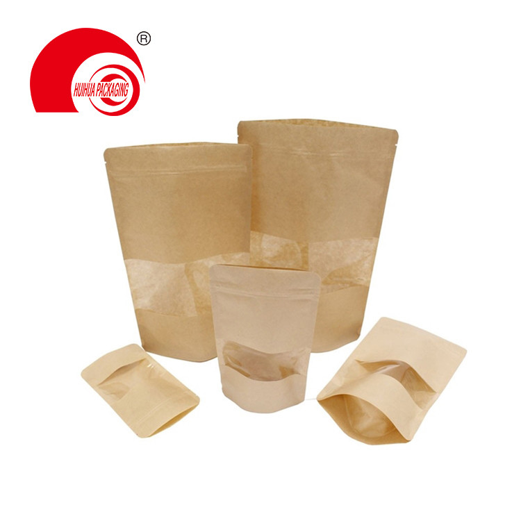 product-Kraft Paper Laminated Plastic Zipper Stand Up Pouch Packaging Bag with Transparent Window-Hu-1