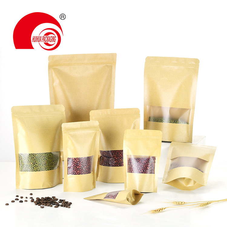 Kraft Paper Laminated Plastic Zipper Stand Up Pouch Packaging Bag with Transparent Window