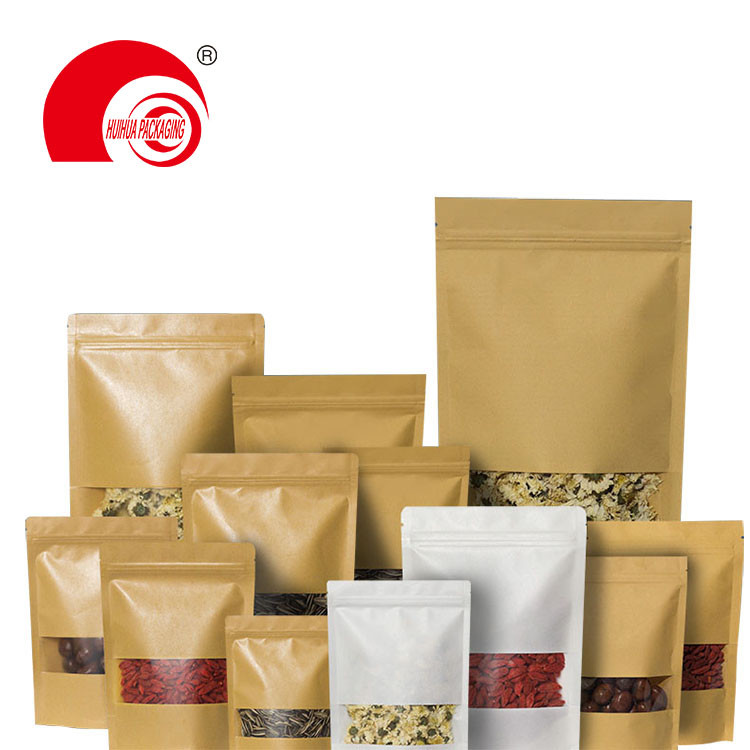 product-Huihua-Kraft Paper Laminated Plastic Zipper Stand Up Pouch Packaging Bag with Transparent Wi