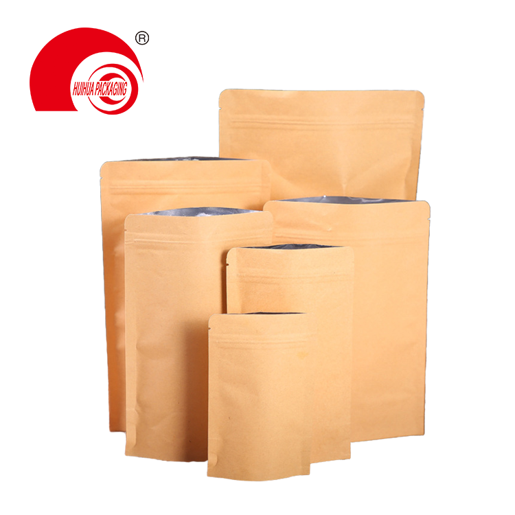 Kraft Paper Stand Up Coffee Packaging Pouch Ziplok Bags