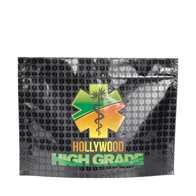 Custom Front Window Glossy Black Child Resistant Ziplock Bags for Dry Flowder Packaging